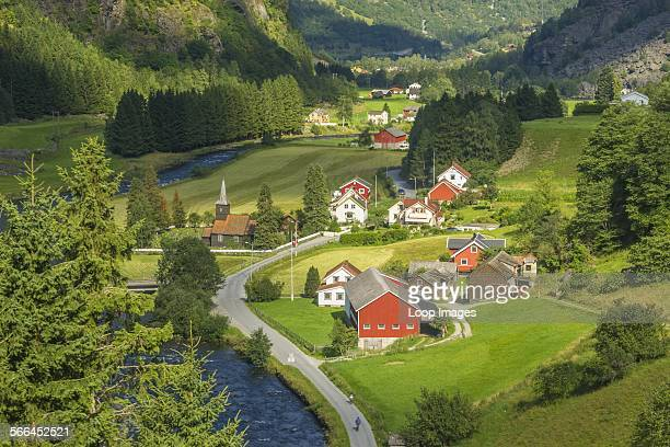 A view of wooden houses in Norwegian fjords