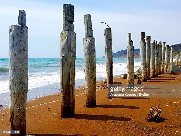 View Of Wooden Poles On Beach