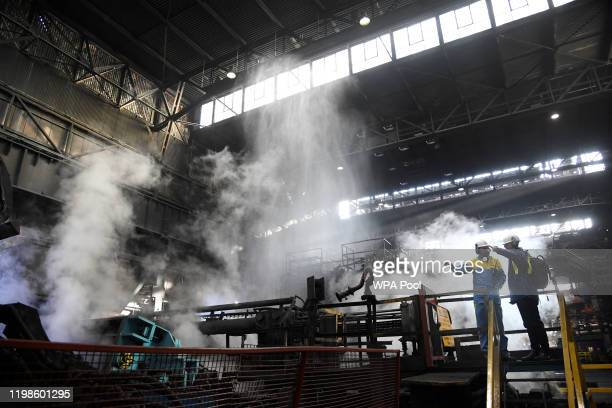 View of workers at the mill ahead of the visit by Prince William, Duke of Cambridge and Catherine, Duchess of Cambridge to Tata Steel on February 04,...