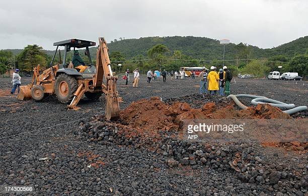 """View of works on """"Campus Fidei"""", a 300-hectare vacant lot in Guaratiba, 40 km west of central Rio de Janeiro, on July 23 where the World Youth Day..."""