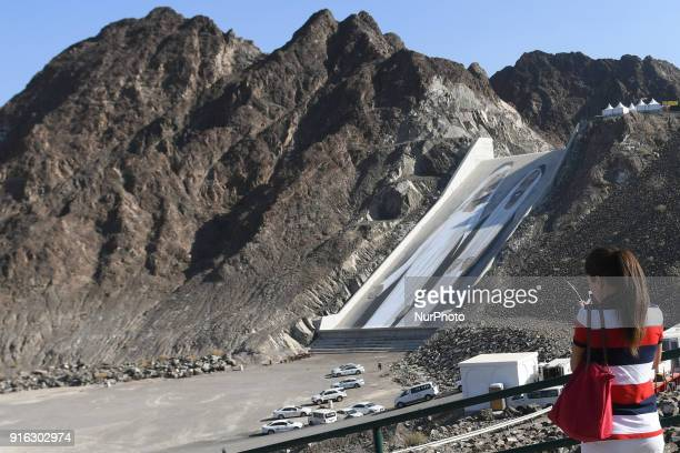 A view of World's biggest inclined mural the 80mx30m mural along Hatta Dam that portrays the founding fathers of the UAE the late Sheikh Zayed bin...