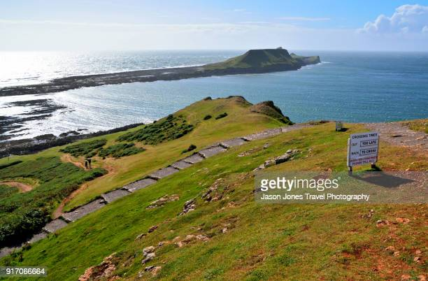 view of worms head - gower peninsula stock photos and pictures