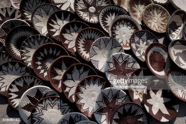 A view of woven traditional baskets in a market in downtown Gaborone Botswana