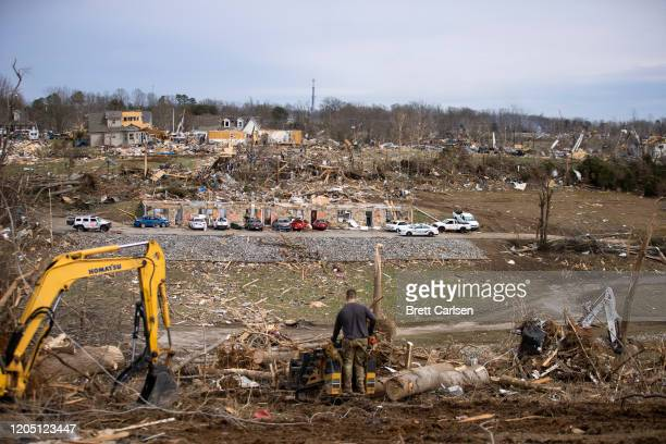 A view of wreckage left behind in the tornado's path through a residential area on March 4 2020 in Cookeville Tennessee A tornado passed through the...