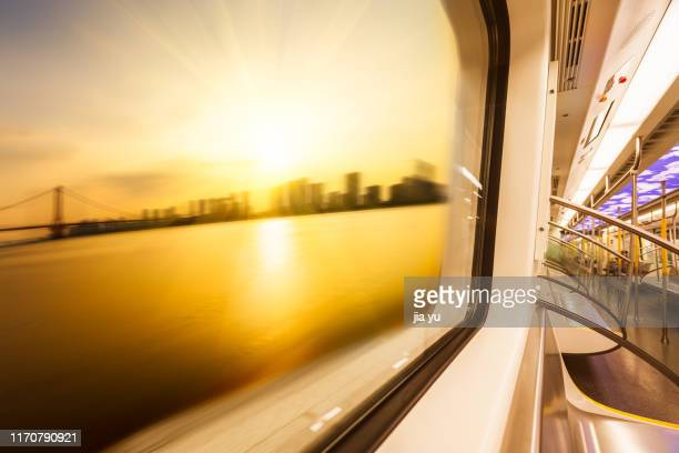 view of wuhan cityscape seen through train window - wuhan stock pictures, royalty-free photos & images