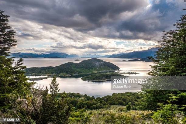 view of wulaia bay in navarino island in the chilean patagonia - bay of water stock pictures, royalty-free photos & images