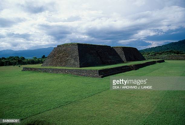View of yacata pyramids ancient city of Ihuatzio near Patzcuaro Michoacan Mexico Taraschi civilisation 14th16th century