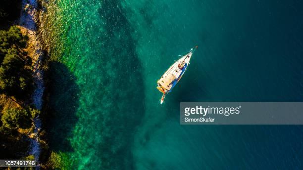 View of yacht on sea on Croatia