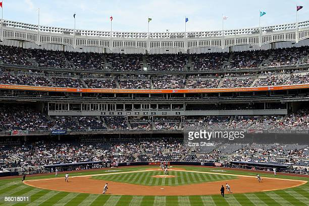 View of Yankee Stadium from center field during the New York Yankees game against the Cleveland Indians on April 17, 2009 in the Bronx borough of New...