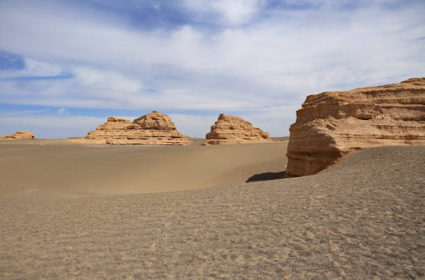 View of yardangs on desert, Dunhuang, Gansu, China, Gansu Province
