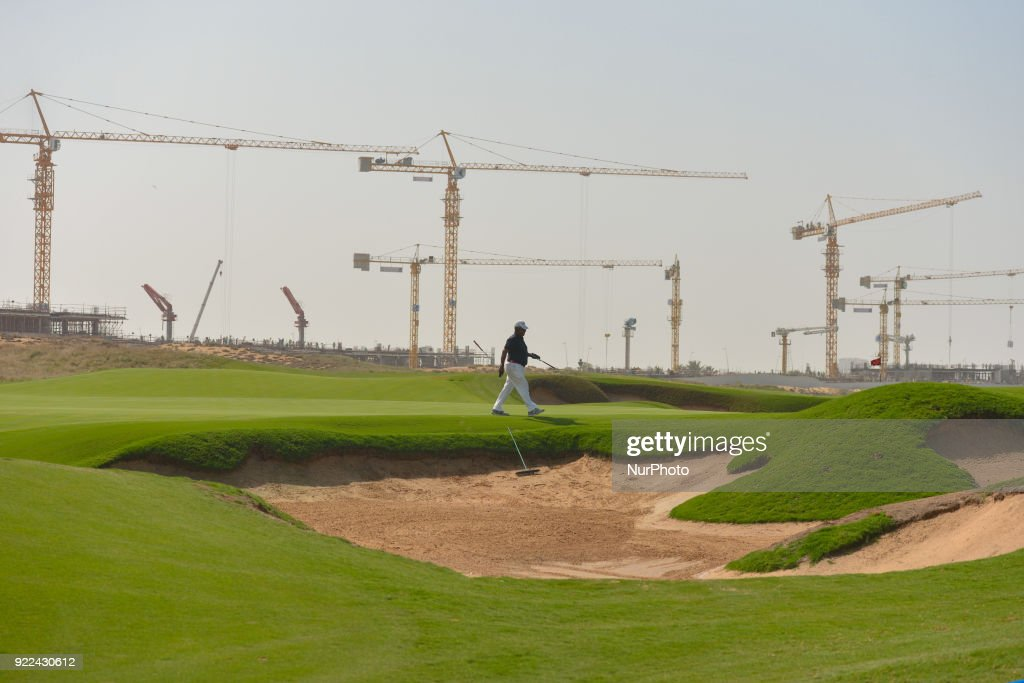 A view of Yas Links golf course with a new construction site in the background. Sentiment in the UAE's construction sector is optimistic at the moment as the region prepares for the upcoming Expo 2020. The event could be a catalyst for the UAE construction industry. The rise in oil prices could also be beneficial for contractors since regional governments are beginning to restart old projects or invest in new infrastructure development. The only concerns remain about the volume of works after 2020. On Tuesday, February 20, 2018, in Abu Dhabi, United Arab Emirates.