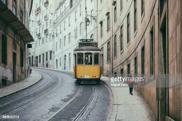 View of Yellow tramway in Lisbon, Portugal