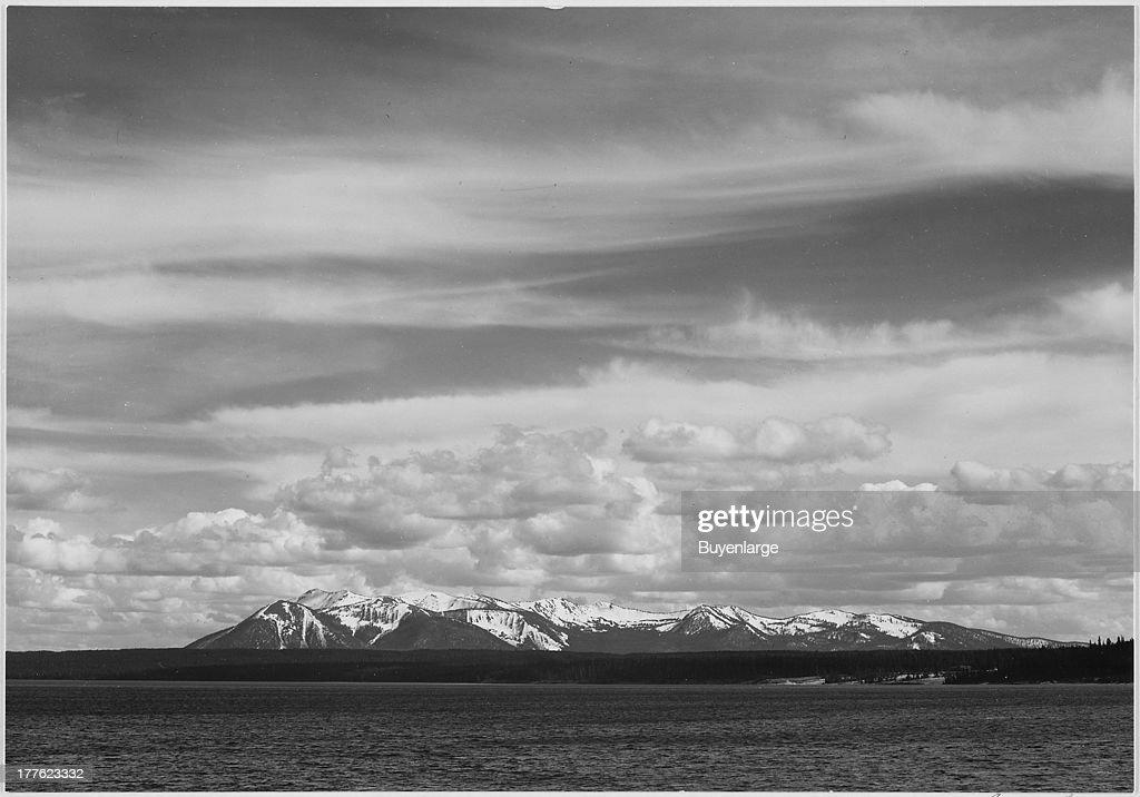 View of Yellowstone Lake and Mt. Sheridan, Yellowstone National Park, Wyoming, 1942.