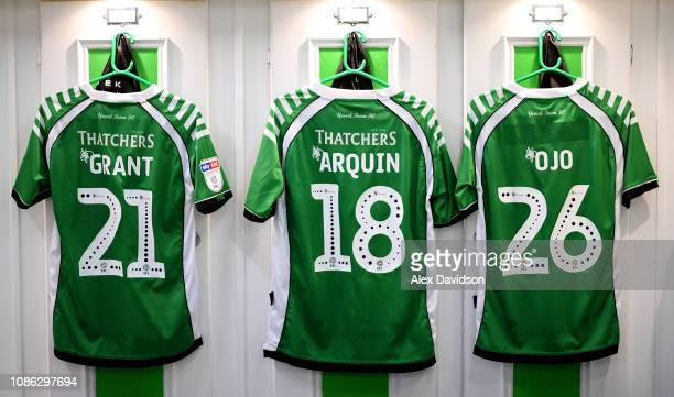 A view of Yeovil Shirts in the changing room prior to the Sky Bet League Two match between Yeovil Town and Lincoln City at Huish Park on January 22...