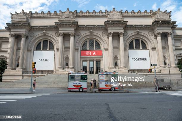View of Yoko Ono's new art installation, Dream Together, is displayed on the facade of The Metropolitan Museum of Art as the city continues Phase 4...