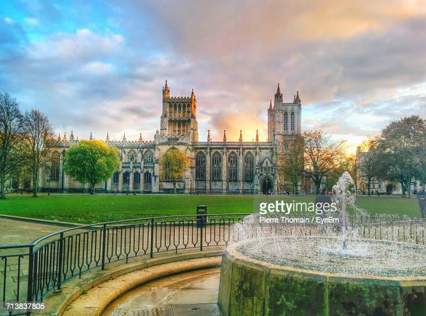 view of york minster against cloudy sky - york minster stock photos and pictures