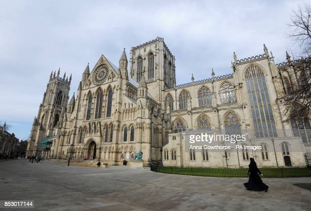 A view of York Minster showing the south side and the Rose Window