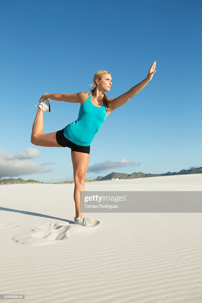 View of, young adult woman, stretching : Stock Photo
