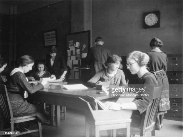 View of young women as in a class on filing and indexing at the GlobeWernicke Company's Standard School Cincinnati Ohio February 1922