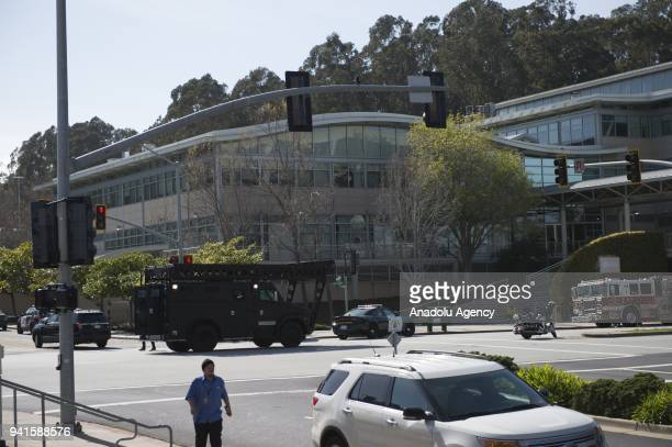 A view of YouTube's California headquarters after security forces responded to an active shooter at YouTube's California headquarters in San Bruno...