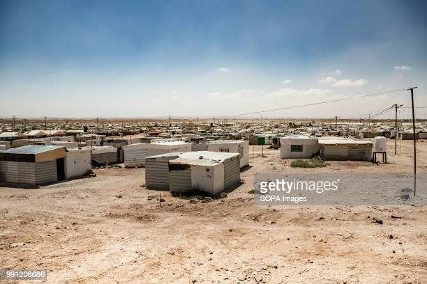 View of Zaatari refugee camp There are about 14 million Syrian refugees in Jordan and only 20 percent are living in the refugee camps with the...