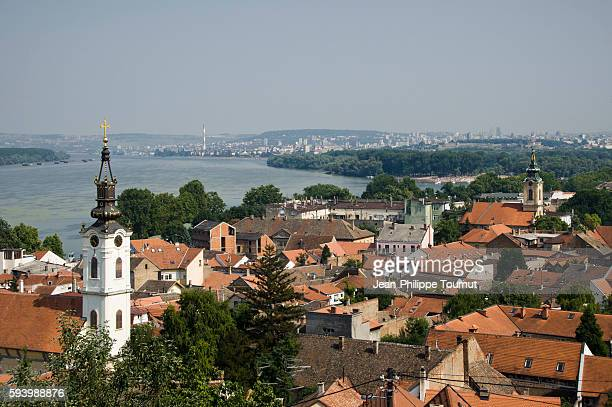 view of zemun old center and the danube river from zemun fortress, serbia - serbia stock pictures, royalty-free photos & images