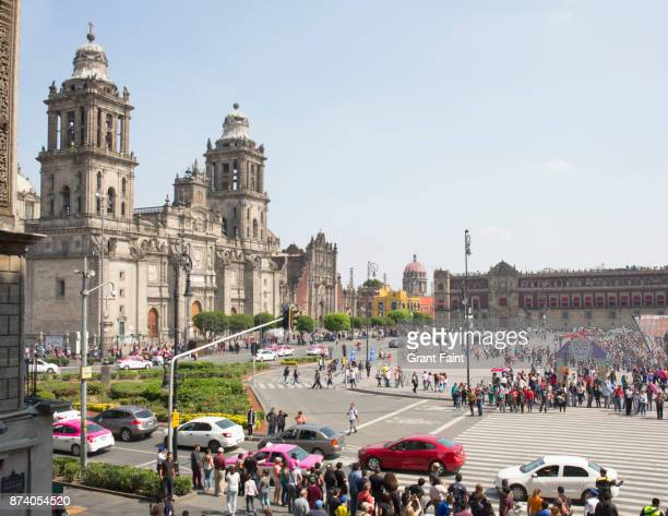 View of Zocalo and Mexico City cathedral.