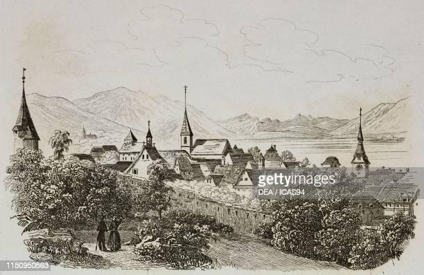 View of Zug engraving from La Svizzera pittoresca e i suoi dintorni by Alexandre Martin Mendrisio 1838