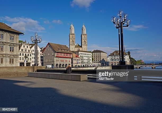 view of zurich - städtischer platz stock-fotos und bilder