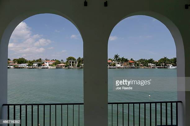 A view off the back of the pool cabana is seen during a tour of the former home of Al Capone on March 18 2015 in Miami Beach Florida The home being...