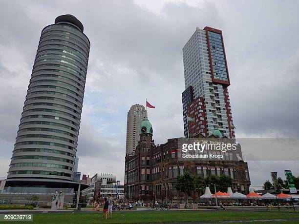 A view on a part of the Rotterdam skyline which includes the historical office building of the Holland Amerika Lijn or Holland America Line Nowadays...