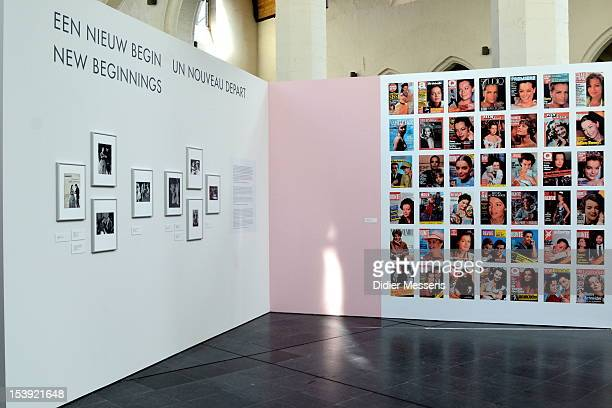 View on a wall displaying Romy Schneider magazine covers at The Romy Schneider Exhibition Exhibition at Caermersklooster on October 11 2012 in Ghent...