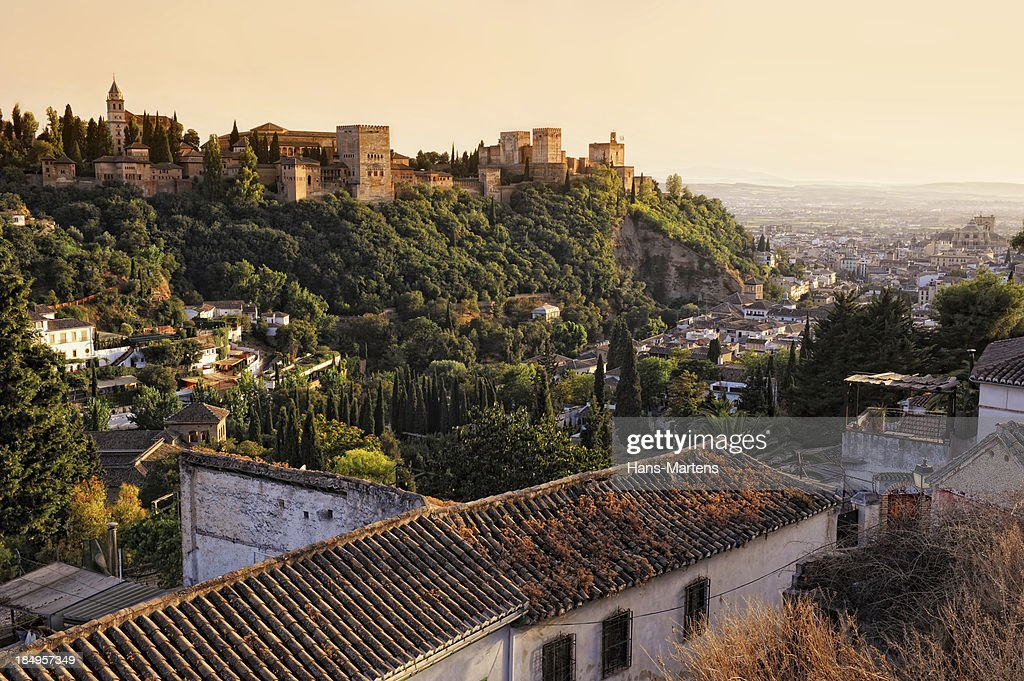 View on Alhambra at sunset : Stock Photo