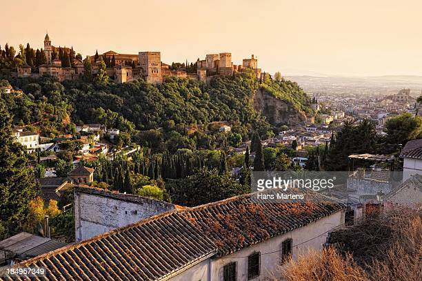 View on Alhambra at sunset