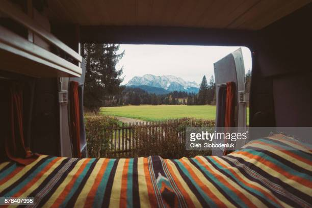 View on Alps from camper van