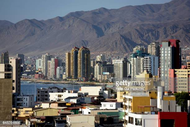 view on antofagasta city of chile - antofagasta region stock photos and pictures