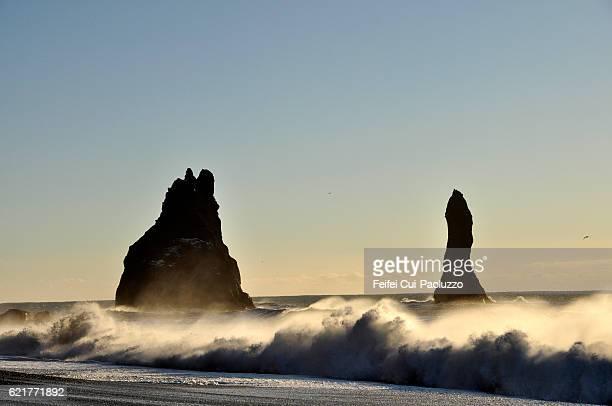 View on basalt sea stacks from Reynisfjara Beach of Iceland