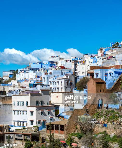 view on blue houses of the medina of chefchaouen, chaouen, reef mountains, tangier-tetouan, morocco - chefchaouen photos et images de collection