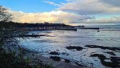 view cancale at sunset winter brittany