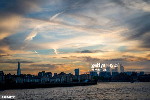 view on city of london from canary wharf - classical mythology character stock photos and pictures