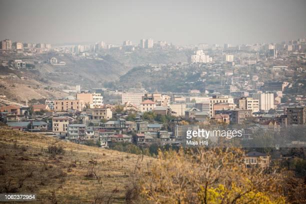 View on city Yerevan from hill of Tsitsernakaberd, on November 16, 2018 in Yerevan, Armenia.