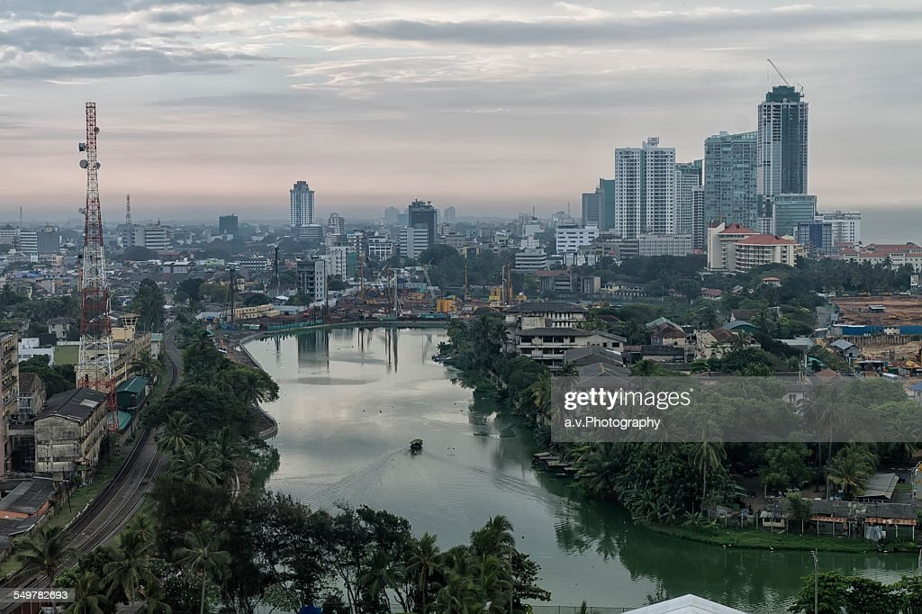 View on Colombo city at dusk. : Stock Photo