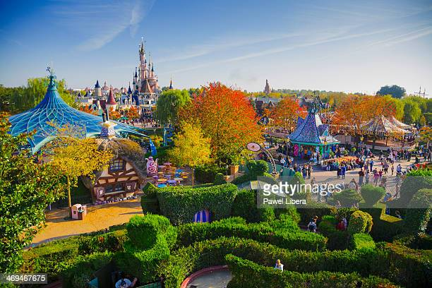 View on Disneyland Park from Alice's Curious Labyrinth Tower at Disneyland Resort Paris in Autumn.