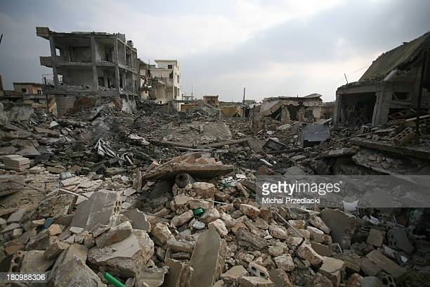 View on downtown Taftanaz that was repeatedly hit by aerial bombardments. Most of its city center were turned into rubble. Civilians had fled the...