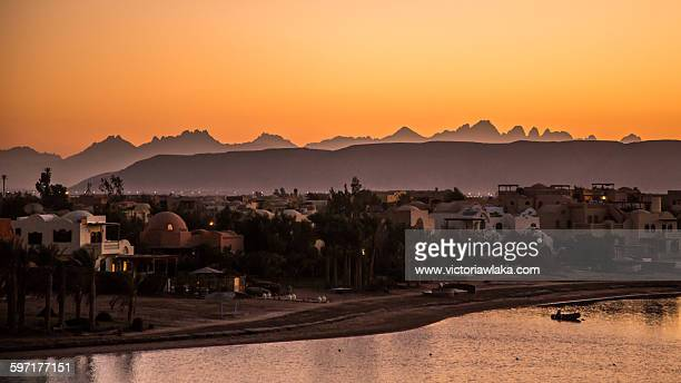 View on El Gouna after sunset