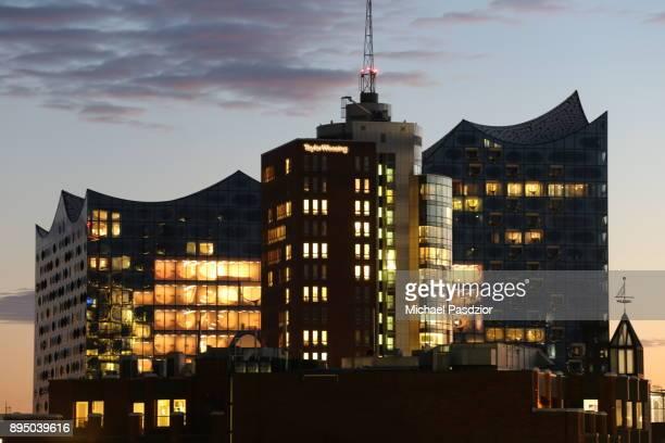 view on Elbphilharmonie at dusk