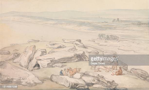 View on Exmoor, Thomas Rowlandson, 1756–1827, British, undated, Watercolor with pen and red-brown ink, and graphite on moderately thick, moderately...