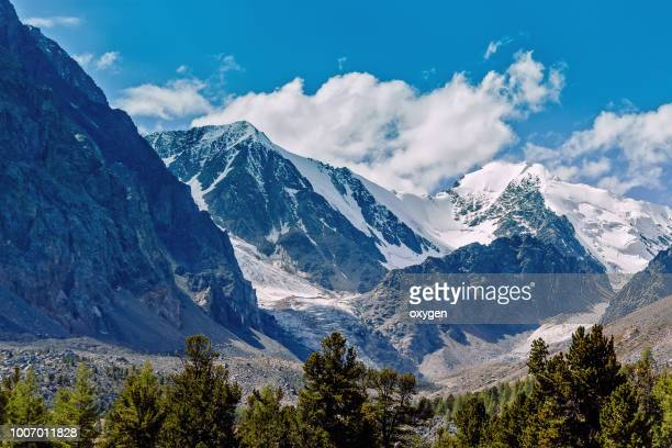 view on glacier big aktru. altai republic. russia - summits russia 2015 stock pictures, royalty-free photos & images