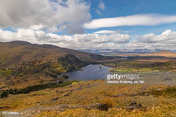 view on glanmore lake from the healy pass, beara peninsula, county kerry, munster province, ireland. - cork city stock pictures, royalty-free photos & images