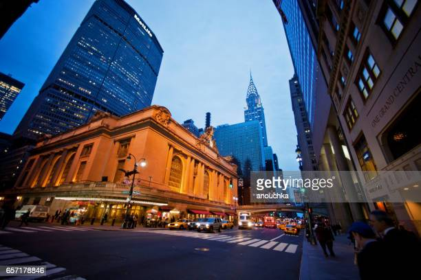 New York, USA - May 1, 2012: View on Grand Central Station from 42nd Street, New York, Grand Hyatt New York and Chrysler Building on background